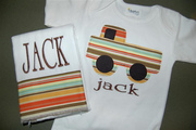 Personalized Truck applique Onesies and burp cloth