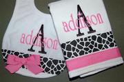 Addison Personalized bib and burpie