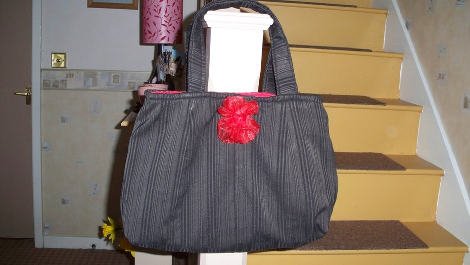 Upcycled red and black tote