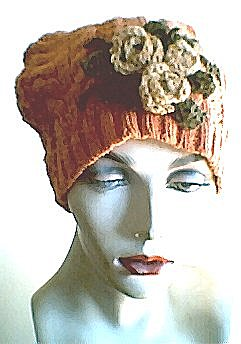 Upcycled Sweater Hat with Crocheted Roses