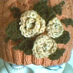Crocheted Roses and Leaves close-up