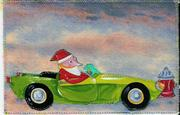 santa green car card