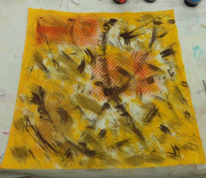 ARROWMONT brush and brayer piece