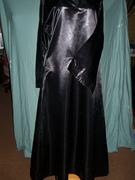 front of black satin a line abaya
