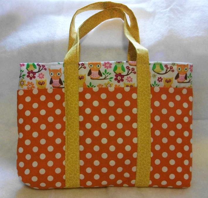 Warm Orange Tote Bag with Polka Dots