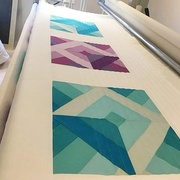 Longarm Quilting Sample 2 - Amethyst and Aqua Blocks Quilt