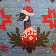 Christmas Goose - Holiday Homies Quilted Pillow Cover