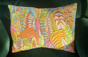 Free Motion Quilted Cushion Cover - Kaffe Fassett Feathers