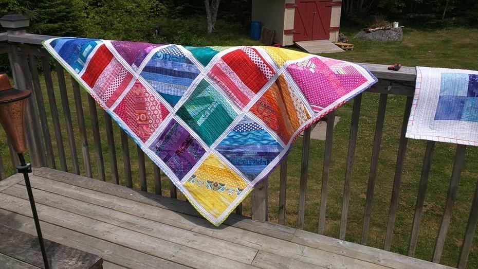 Scrap Rainbow Quilt - QAYG Method