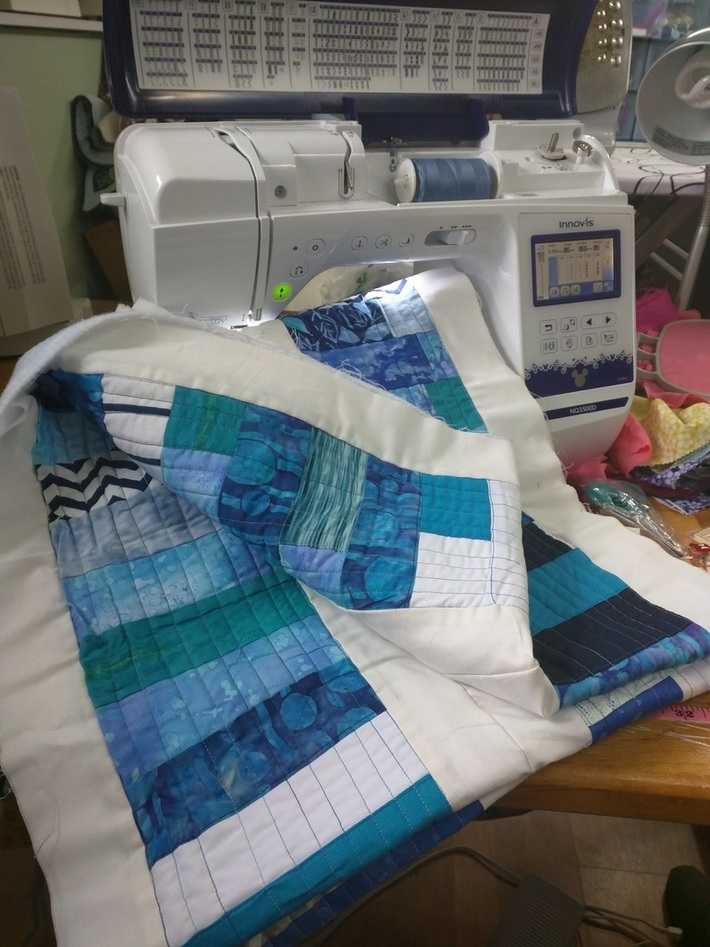 Aqua Greens and Blues Strip Quilting with Brother Innov-is NQ3500D Sewing Machine