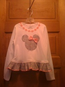 Mouse Appliqued Ruffled Girls T-Shirt