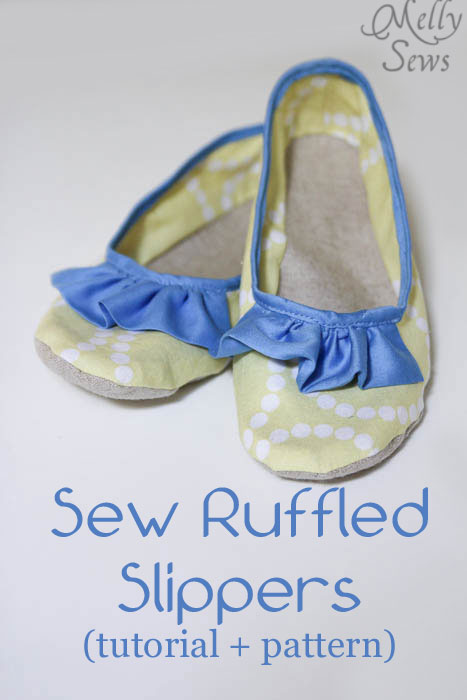 Sew Slippers with a Ruffled Accent - Free PDF Pattern + Tutorial