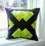 Boys Green Batik and Solid Black Quilted Pillow Cover