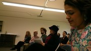 Audience, with Michael Nagler and Stephanie on far left. Megan Flautt. Alison and Destiny toward right