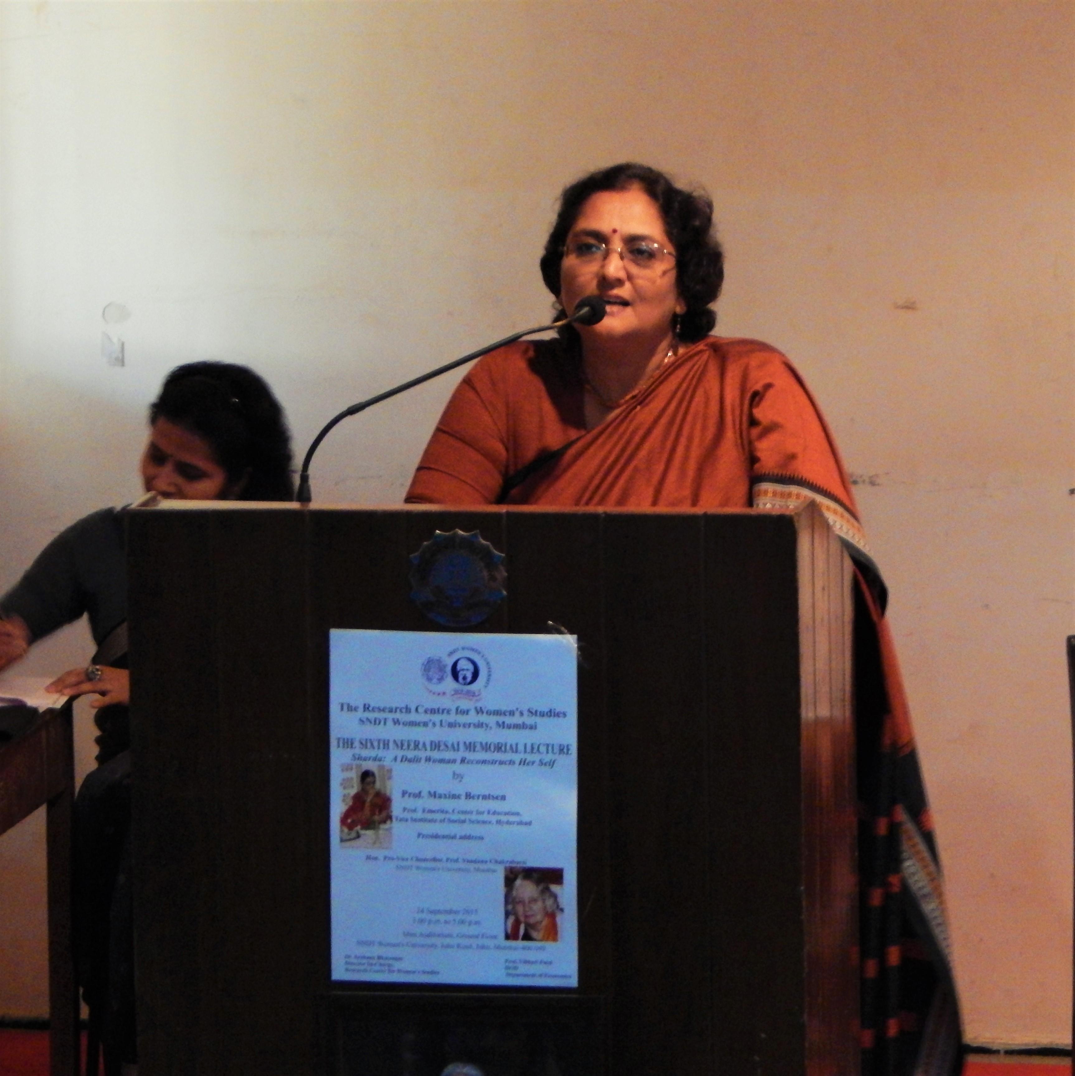 Prof. Vibhuti Patel narrating HERSTORY of Dr. Neera Desai Memorial Lecture Series 24-10-2015