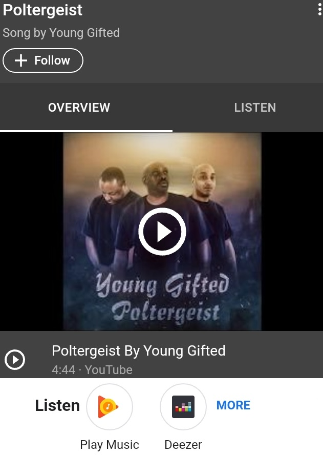 HEAR IT RIGHT NOW...POLTERGEIST BY YOUNG GIFTED