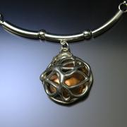 Golden sphere necklace