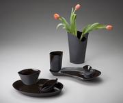 Black Vase & 2 Dinnerware Sets