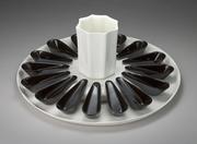 Appetizer Platter with 16 Black Spoons & Vase