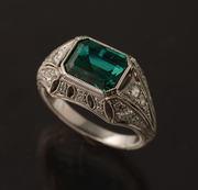 ring emerald dia plat