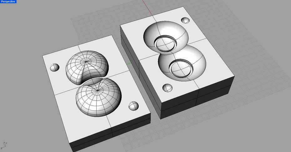 double spheres with ring mold