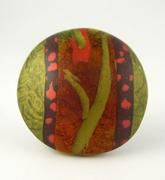 Polymer Clay Bead - green, brown, orange