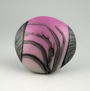 polymer clay cabachon, pink, silver