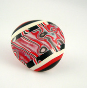 polymer clay cabachon, red, white, black