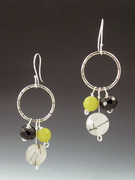 Sterling Circle Earrings with Bead Cluster
