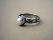 Pearl Ring with Patterned Band