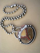 TeePee Canyon Agate Copper Silver Pendant