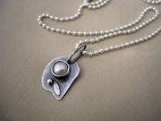 Pearl Pendant ~ Sterling Silver Floral Motif