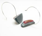 quarter moon epoxy resin earrings