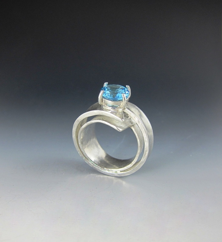 Topaz and Argentium Ring - Side Shot