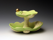 Green Treat Server with Golden Spoon