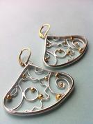 Gold & Silver Fan Filigree Earrings