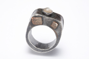 SS and copper box ring with mother of pearl