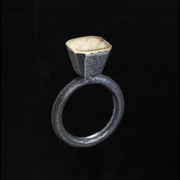 gigi mariani - Solitaire - ring - silver, 18kt yellow gold, niello patina