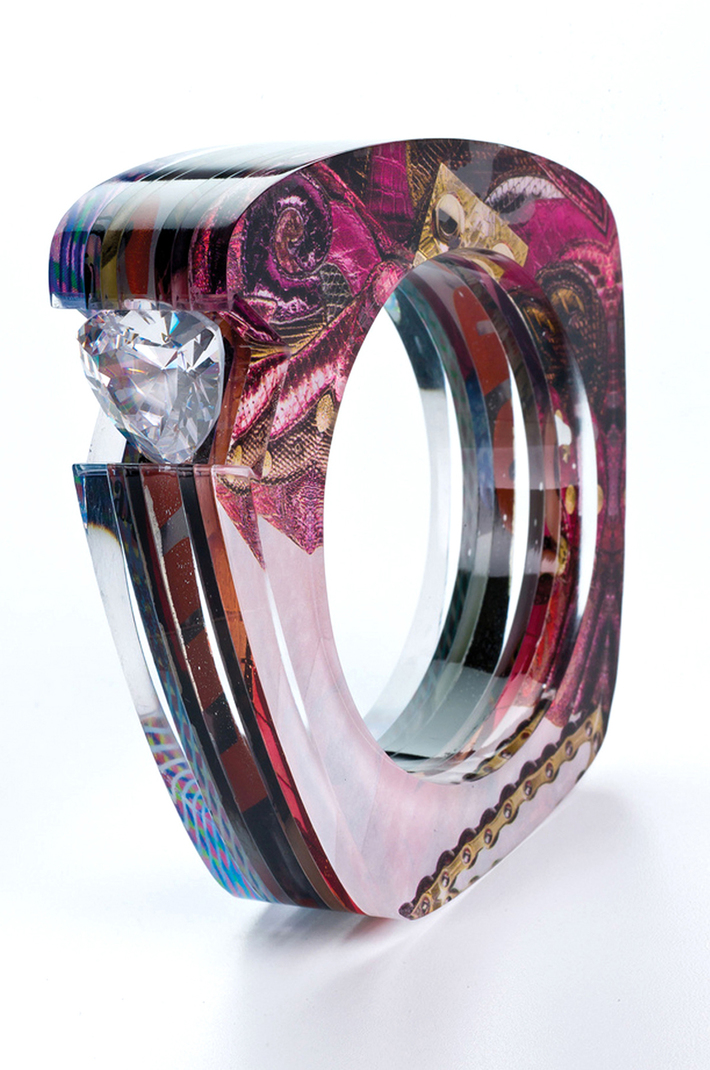 Transformed Trapezoid Bangle with Gem