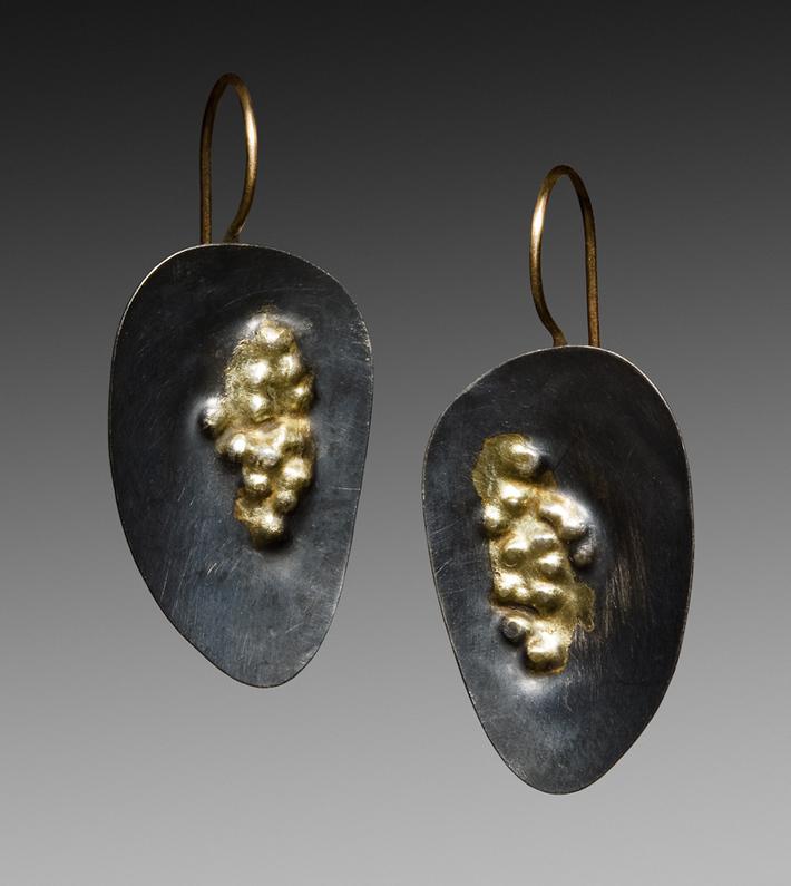 oxidized sterling dimple earrings