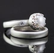 Pearl and Diamond Bridal Set