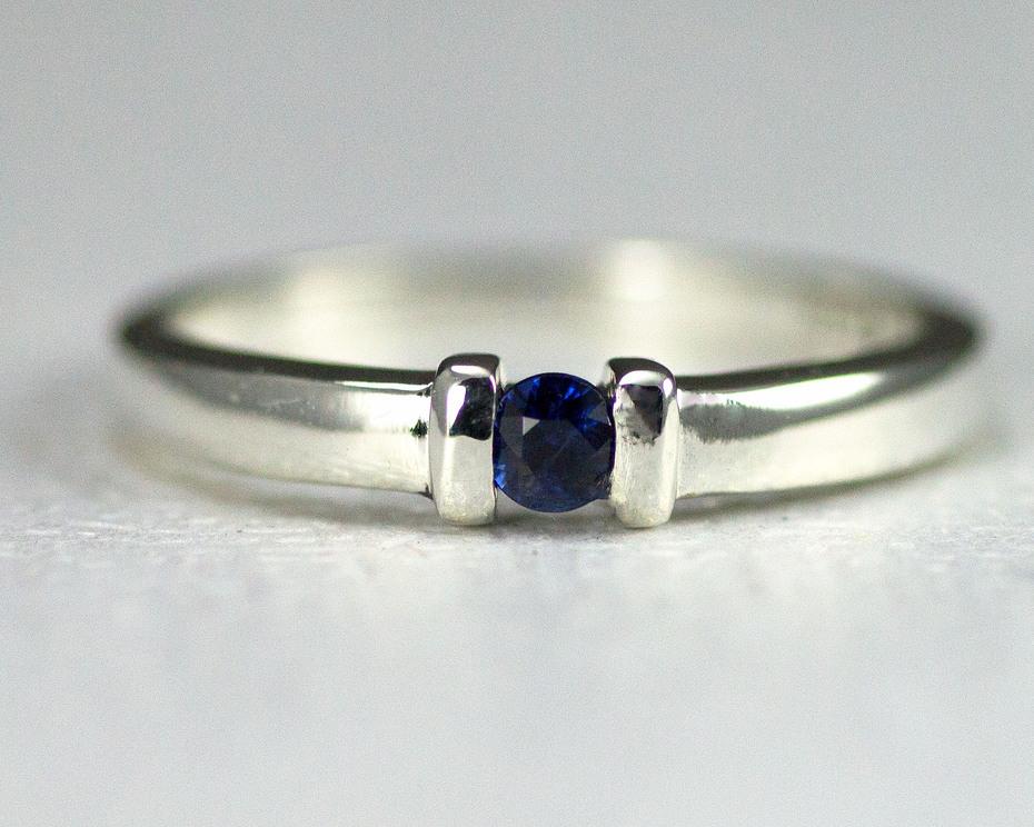 Channel Set Sapphire Birthstone Ring