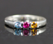 3 Stone Sterling Mothers Ring