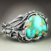 Flourishing Silver and Royston Turquoise Cuff