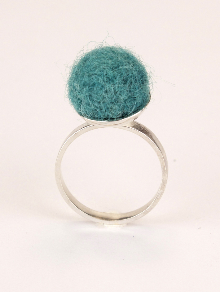 Turquose Felted Ring