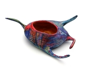 Amoeba vessel, red and cobalt