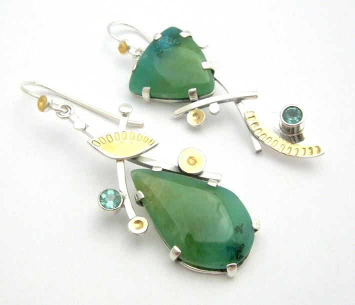 Gem Silica Chyrsoprase Earrings