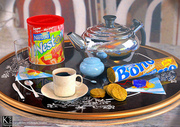 Cockies and a delicious 3D breakfast. Vray render.