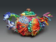Fire and Ice Rooster Teapot