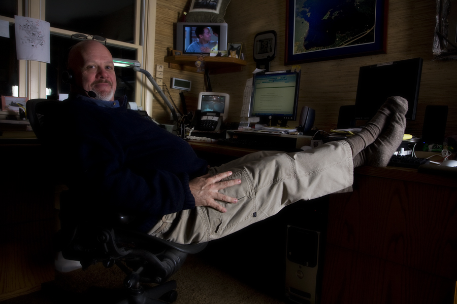 The Author Relaxes In His Office